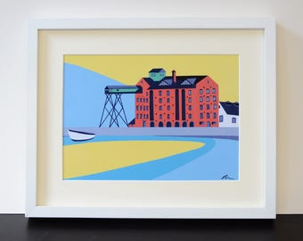 Wells Granary Mounted Fine Art Print - North Norfolk - Wells next the Sea - by Rebecca Pymar