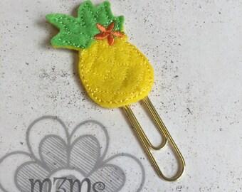 Feltie Planner Clip, Pineapple Feltie Bookmark, Planner Clip, Filofax Accessories, Planner Bookmark, felt paperclip, Pineapple Planner
