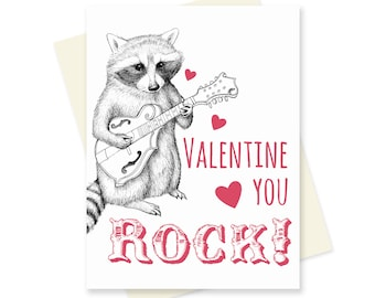 Raccoon Valentines Day Card. Music Valentine Card. Bluegrass Love. Cute Raccoon Mandolin. Valentine Card Husband Boyfriend. For Her. For Him