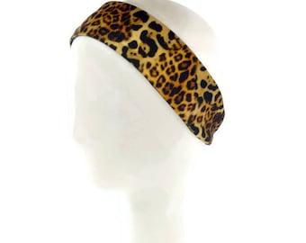 Yoga headband, Cheetah print headband,  animal print yoga headband, leopard print workout headband, running headband, sweatband, yoga gift