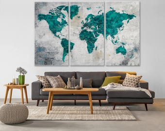 World map decor etsy turquoise world map large world map decor push pin travel map push pin gumiabroncs Gallery