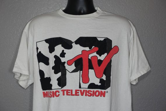 90's RARE MTV Music Television - Cow Logo Original 90's Giant Brand Vintage T-Shirt