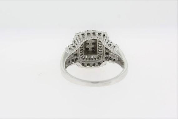 Round Black Hematite Diamond Ring 10k White Gold Hematite
