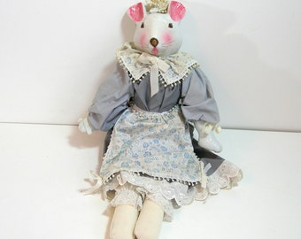 Vintage Porcelain Mouse Doll, 20""