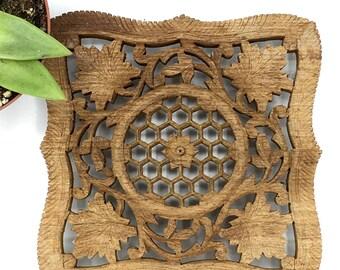 Vintage Carved Wood Trivet, Boho Decor, Natural Shapes, Organic