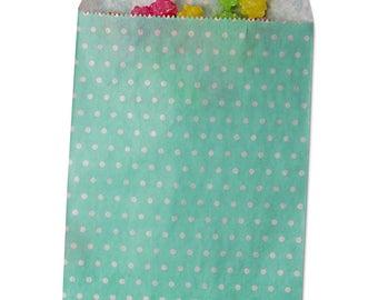 Paper Merchandise Bags, Party Favor Bags, Candy Bags, Party Bags, Paper Bags, Treat Bags - Teal/White Polka Dots
