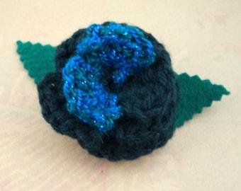 Crocheted Rose Hair Clip - Black with Aqua Sparkle (SWG-HC-ZZ07)