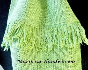 Hand Woven Hand-dyed Leaf Green Silk Infinity Scarf, Lime Loop Scarf