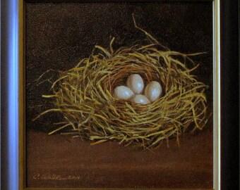 Original oil painting Bird Nest With Four Eggs framed