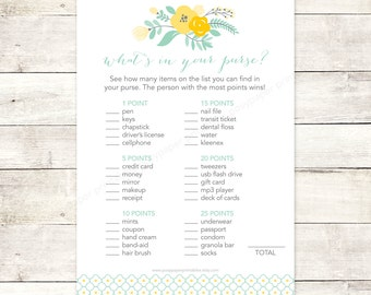 bridal shower game what's in your purse printable sage green yellow flowers floral bouquet wedding shower digital games - INSTANT DOWNLOAD