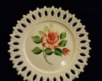 Vintage John Kemple Iridescent Milk Glass lace edge hand painted plate roses