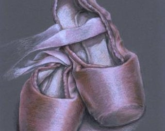 Pointe shoes - 5x7 print of an original drawing by Tanya Bond
