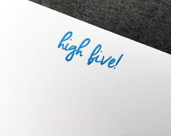 High Five Letterpress Notecard