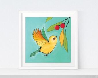 Bird Print, Yellow Bird Art Printable   Modern Art, Digital Art   Bird Print, Bird Art, Bird Wall Art   Instant Download   Print at Home Art