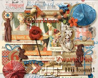 Digitale scrapbooking, digitale download scrapbook elementen, Sint vintage, vintage Sinterklaas Zwarte Piet, pepernoten art journaling, kaarten
