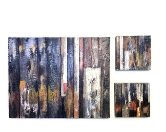 Encaustic Wax Wall art, Modern, Old Patch work Painted Barn , Modern Decor, Rustic Cabin, Triptych  - set of Three coordinating pieces
