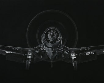 Canvas or Poster Print F4U Corsair White Charcoal on Blackboard paint.