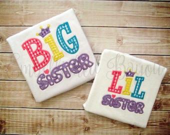 Big Sister Lil Sister Applique T-shirt for Girls
