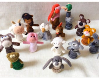 Finger puppets farm animals/puppet wool has fingers farm animals