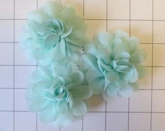 """Set of 3 2.75"""" Mint Green Chiffon Flowers Embellishments Dance Costumes! (I-4)"""
