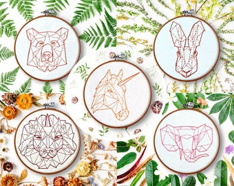 modern hand embroidery patterns, geometric animals, beginner embroidery, embroidery ideas, contemporary embroidery, rustic home decor