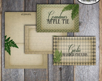 Thanksgiving Printable Food Tents - Food Labels - Botanical - Fern Leaf - Thanksgiving Printable Name Cards