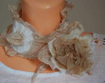 Felted neck accessory Wedding accessory Felted Ribbon Margilan Excelsior Silk Wearable art Nuno felted neck accessory