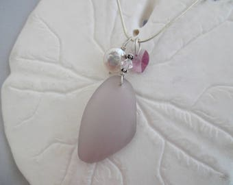 Purple Sea Glass Necklace Beach Pendant Jewelry Sterling Lavender