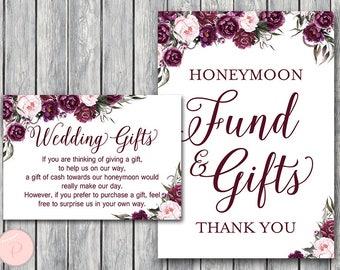 Marsala Wedding Gift, Honeymoon Fund Card and Sign, Cash towards honeymoon, Wedding Decoration Sign, Printable Sign, Wedding Sign TH86