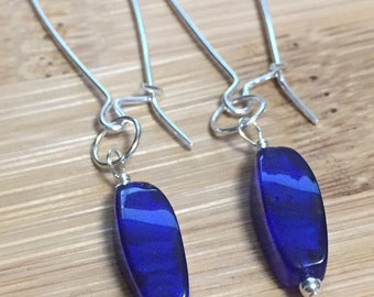 Sterling Silver Blue Gemstone Drop Earrings