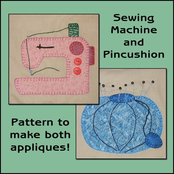 Sewing Room Applique Templates - Sewing Machine Applique Pattern ...