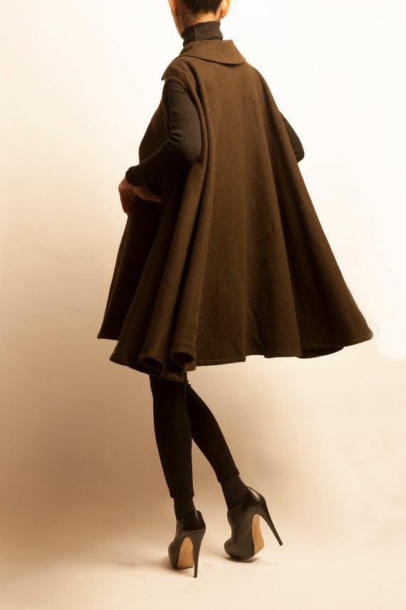Yves Saint Laurent 1970's khaki wool cape gilet