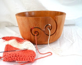 Wooden Yarn Bowl - Double Yarn Guides - Large Size- Gift for Knitters - Gift for Crocheters - For Knitting - For Crocheting