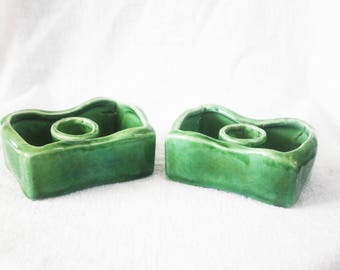 Vintage Pair USA Green Candle Holders in Small Pottery Planters