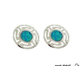 Sterling Silver Earrings - Greek Key & Opal for Eternity (8mm)