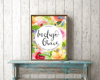DIGITAL PRINT DOWNLOAD - *Customised* name, bible verse - candy flowers, floral, psalm, christian, nursery, gift, baby, girl, wall art