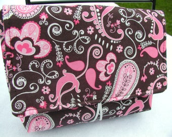 Sassy Coupon Organizer Holder - Pink and Brown Paisley - Hooks Onto Your Grocery Cart - Comes with 30 Organizing Dividers - Ready To Ship