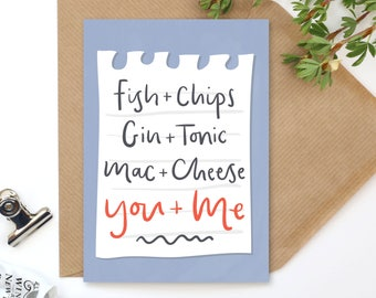 You & Me - Perfect Pairing - Love Notes - A6 Valentine's Day Card - Love Card - Gender Neutral Card