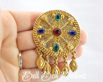Vintage Gold Pin/ Brooch with Red, Green, Blue Cabochons PG110