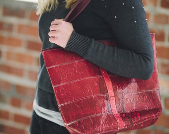 Brilliant Red Recycled Plastic Purse