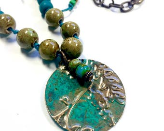 Artsian Patina Jewelry, Teal Green Nature Inspired Jewelry, Hand-tied Boho Necklace
