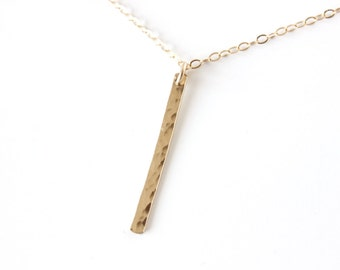 Vertical Hammered Bar Necklace Long Layering Necklace Long Bar Necklace Skinny Bar Necklace Vertical Bar Necklace Dainty Bar Necklace