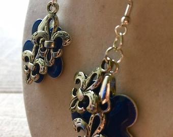 Sassy French Fleur de Lis Enamel and Silver Earrings