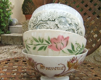 """Set 4 antique old  Petit DEJEUNER Café au Lait BOWL Pink Flowers and """"SOUVENIR"""""""