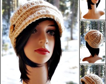 Crochet Womens Newsboy Winter Hat Beanie with wooden buttons - Cream, Gray, Oatmeal, Black, Light Gray  - Handmade  by Angel Chest Boutique