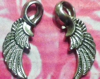 Feather Wing Charms - 10 pc. - Angel Wing Charms - Lead Free - Lead Free Charms - Tibetan Antiqued Silver Wings - Silver Wing Charms