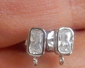 1 pair (2 pcs) Sterling silver  rectangle cz stud earring finding with one loop, cz post earrings  (6.5x4mm)