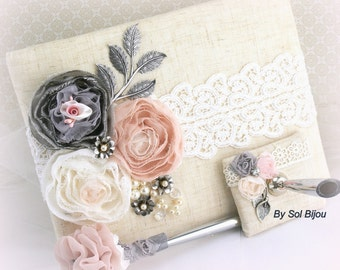 Guest Book, Blush, Pink,Silver, Ivory, Gray, Anniversary, Birthday, Signature Book, Signing Pen, Elegant, Vintage Style,  Pearls, Linen,Lace