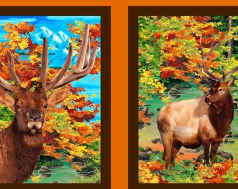 Autumn Blaze elk panel by Exclusively Quilters.