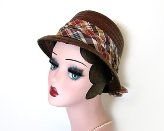 Vintage 1960's Straw Fedora Hat w/ Plaid ~ Lady Dobbs